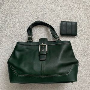 Coach Green Leather Purse With Matching Wallet